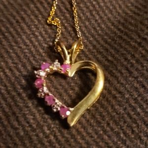 Ruby & cz heart necklace